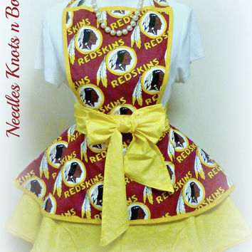 Washington Redskins Womens Flirty Apron, Womens Redskins Football Team Apron, Sexy, Hostess, Sports, Gifts for Her