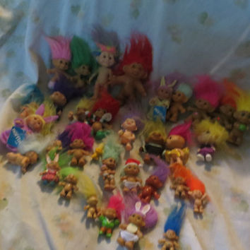 VINTAGE  lucky  TROLL  doll collection  OF 32   dolls