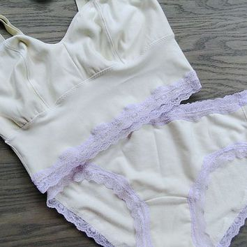 309ee4105dd long bralette and panties lingerie set - bamboo organic cotton - made to  order