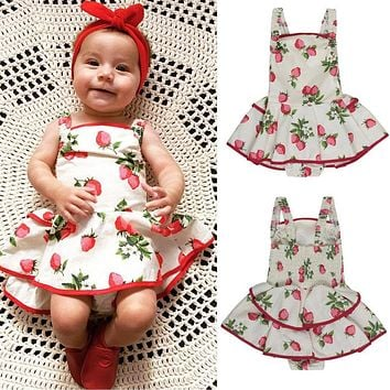 Strawberry Princess Dress One-pieces Baby Girls Kids Tutu Dress 2017 Newborn Brand Suspender Dress Clothes 0-2Y