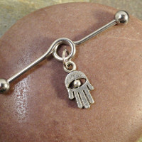 Hamsa Hand Tribal Industrial Barbell Piercing Upper Ear Piercing