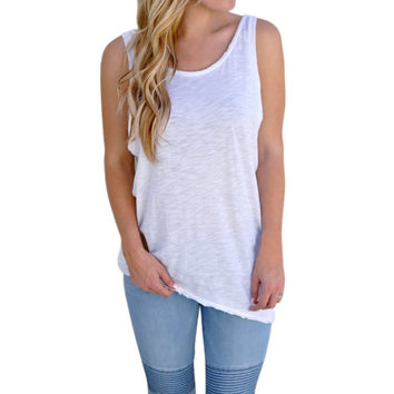 Summer Women Solid Loose T Shirt Casual Sleeveless Vest Shirts Tops Lady Backless Tank