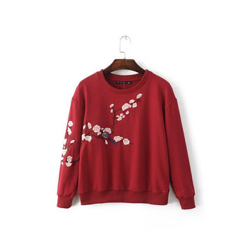 Autumn Embroidery Round-neck Long Sleeve Pullover Hoodies [8173556167]
