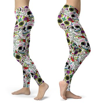 Really Colorful Sugar Skull Leggings