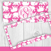 Hot Pink Elephant Monogram License Plate Frame Holder Metal Wall Sign Tags Personalized Custom Vanity Country Girl