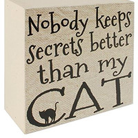 Nobody Keeps Secrets Better Than My Cat Wall Box Sign 3-3/4-in