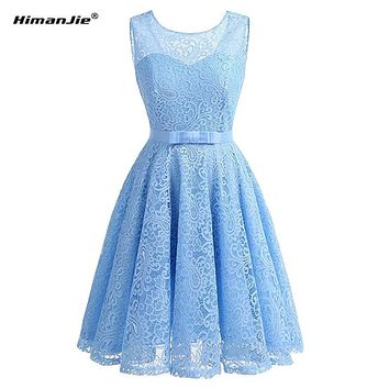 HimanJie Lace Patchwork Women Vintage Dress Autumn Winter Sleeveless Pin Up Rockabilly Plus Size Retro Robe Female Party Vestido