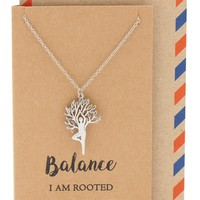 Chanda Yoga Pose and Tree of Life Necklace, Yoga Jewelry Gifts