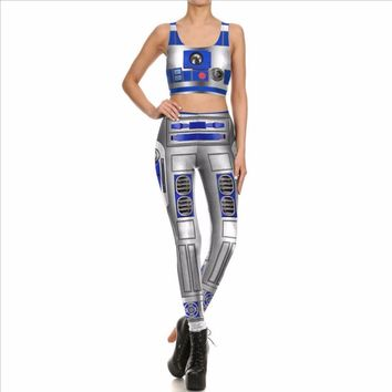 Star Wars Costume Women Cosplay Tops and Leggings Sleeveless Sexy Anime Clothing Slim Tight Casual Pencil Pants Novelty Skinny