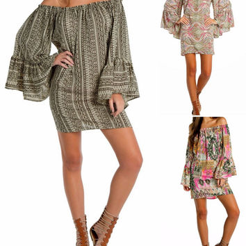 Eliza Bella for Elan Boho, HIppie Off Shoulder Dress / Blouse 3 Colors SML