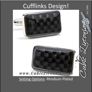 Men's Cufflinks- Rectangular Carbon Fiber Checkerboard