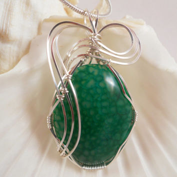 Wire Wrapped Pendant Green Dragon Vein Agate