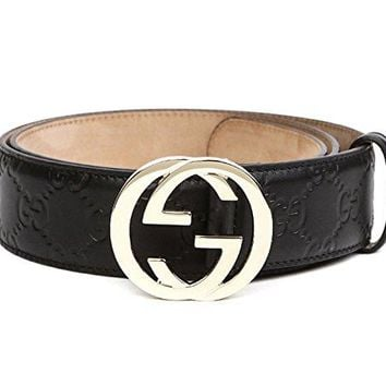 Wiberlux Gucci Men's GG Buckle Logo-Engraved Real Leather Strap Belt