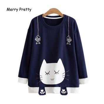 Merry Pretty Autumn Long Sleeve T Shirt Women Sweet Cat Printed Kawaii Cotton T-shirts for Girls Fish Embroidery Funny Tee Tops