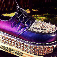 "Holographic ""Metalloid"" Purple/Teal Iridescent Platform Creepers"