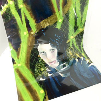 Rooney Mara As Lisbeth Salander Alternate Artist Print, The Girl With The Dragon Tattoo Art Print In Watercolor With Clear Plastic Sleeve