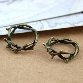 10 PCS - Crown of Thorns Charms - Thorn Ring, Silver, Bronze Twig Ring, Branch Ring Pendants, Charms, DIY Supplies, Jewelry Making, 23 mm