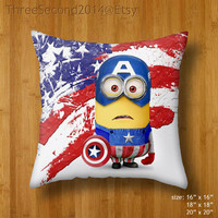 Decorative cushion despicable me minions the avengers captain america Double Side Pillow Case cover 16 18 20 inch by ThreeSecond2014