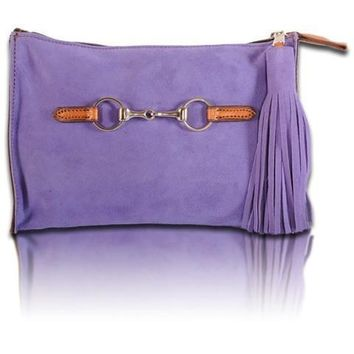 Suede Snaffle Clutch with Suede Tassel | Lilac