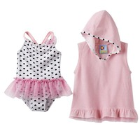 Baby Buns Heart One-Piece Swimsuit & Cover-Up Set - Toddler Girl, Size: