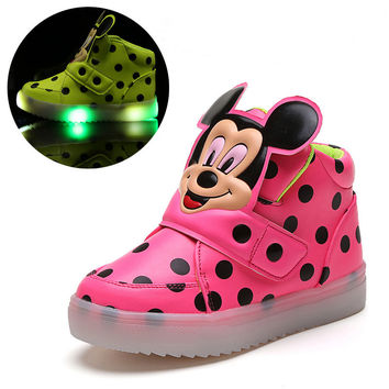 Children Shoes With LED Light Popular in Europe Boys Shoes Autumn Winter Dot Cartoon Sport Girls Sneakers Kids Shoes Size 21-30