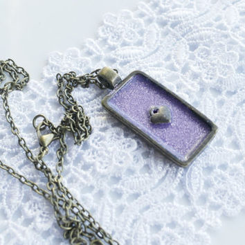 Heart Purple Necklace, Glitter, Violet, Statement Necklace, Charm Rectangle Necklace, Bronze Pendant Necklace, Long Necklace, Christmas Gift
