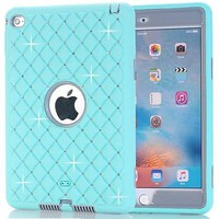 Light Blue Bling Shockproof Rugged Hybrid Rubber Hard Cover Case For iPad Mini 4