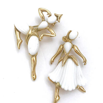 "Trifari ""Beau Belles"" Dancer Brooches, Trifari Figurals, White Thermoset Dancers, Alfred Philippe, Mid Century 1953, Book, Gift for Her"
