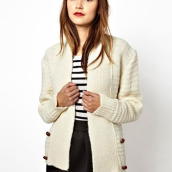 Les Prairies de Paris Relaxed Cardigan in Ecru - Blake blanc