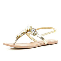 River Island Womens Gold jewel embellished t bar sandals