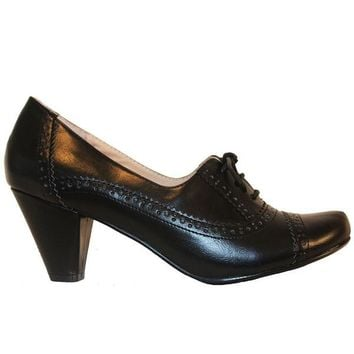 Chelsea Crew Mission - Black Mid-Heel Oxford