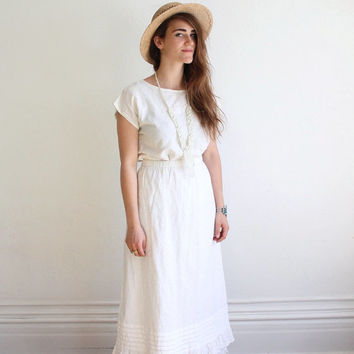 Vintage 90s Eyelet Cotton Prairie Skirt with Lace Hem | Maxi Skirt, S M