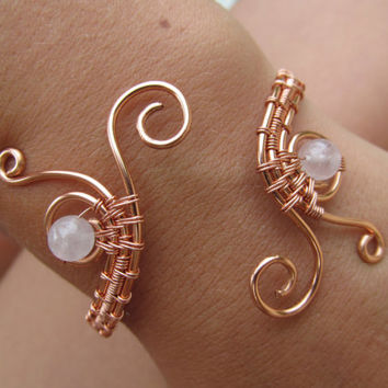 Pink Rose Quartz Triple Spiral Copper Bracelet, Natural Gemstone Wire Wrapped Cuff Bracelet, Handmade Wedding Jewelry
