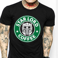 Star Lord Star Wars Coffe Logo TV Mens T-shirt Black and White