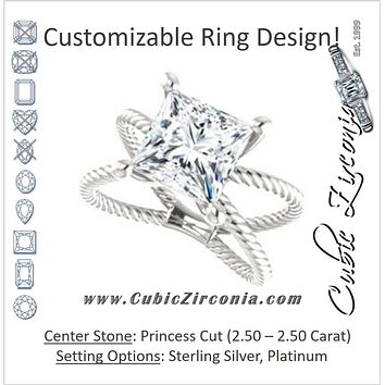 "Cubic Zirconia Engagement Ring- The Zaylee (Customizable Princess Cut Solitaire with Wide Rope-Braiding ""X"" Split Band)"