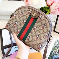 GUCCI Women Shopping Bag Leather Stripe Mickey Mouse Print Crossbody Satchel Shoulder Bag