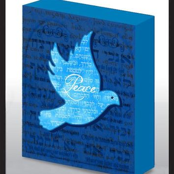 Hand Made Decorated 3D Peace Dove Art Wood Panel