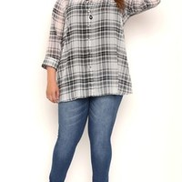 Plus Size Long Sleeve Button Front Plaid A Line Tunic Top