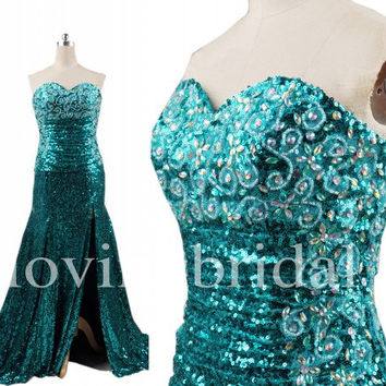 Long Ice Blue Sequined Prom Dresses Shinning Crystal Party Dresses Evening Dresses Wedding Occasions