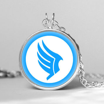 Mass Effect Paragon symbol inspired glass cabochon dome Pendant Necklace gift gift girlfriend boyfriend gift