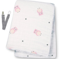 "Lulujo LJ021 Pink Owl Muslin Cotton Swaddling Blanket 47""x47"" with Pacifier Clip"
