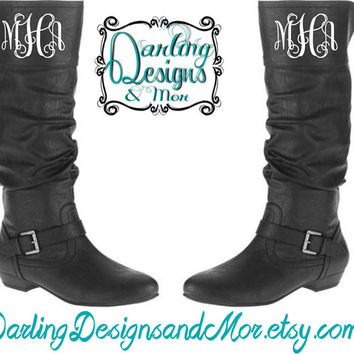 Monogrammed Black Knee High Boots