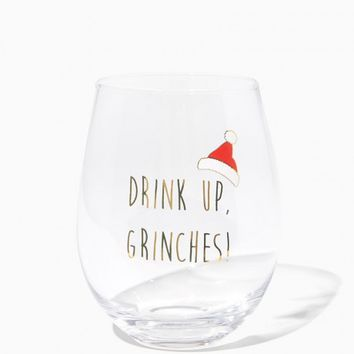 Drink Up Holiday Wine Glass | Charming Charlie