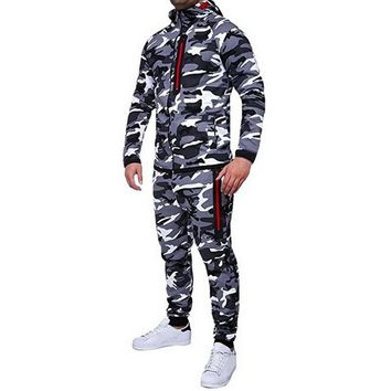 CALOFE Tracksuit Men's Hoodie Camouflage Tracksuits Sportwear Pants + Jackets Set Sportswear Sweat Sets  2018 Autumn Men