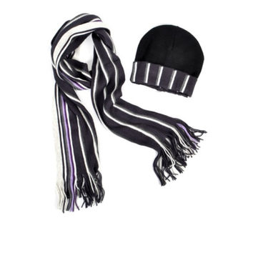 Women's fashionable winter Hat and Scarf Set , Striped