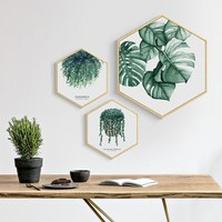 Nordic Style Green Plant Big Leaves Cactus Canvas Painting Hexagon Poster And Print Home Decor Wall Art Picture For Living Room