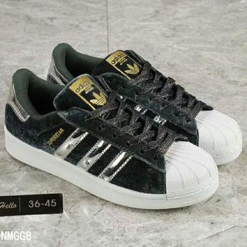ESB9N Adidas' Fashion Shell-toe Flats Sneakers Sport Shoes Golden logo H-A36H-MY