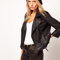 ASOS Leather Look Quilted Biker Jacket at asos.com