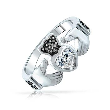 Black White Celtic Irish CZ Heart Claddagh Ring 925 Sterling Silver