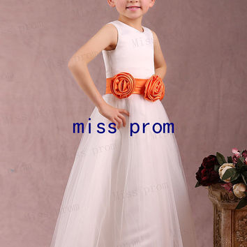 Soft tulle with flowers sash scoop flower girl dress